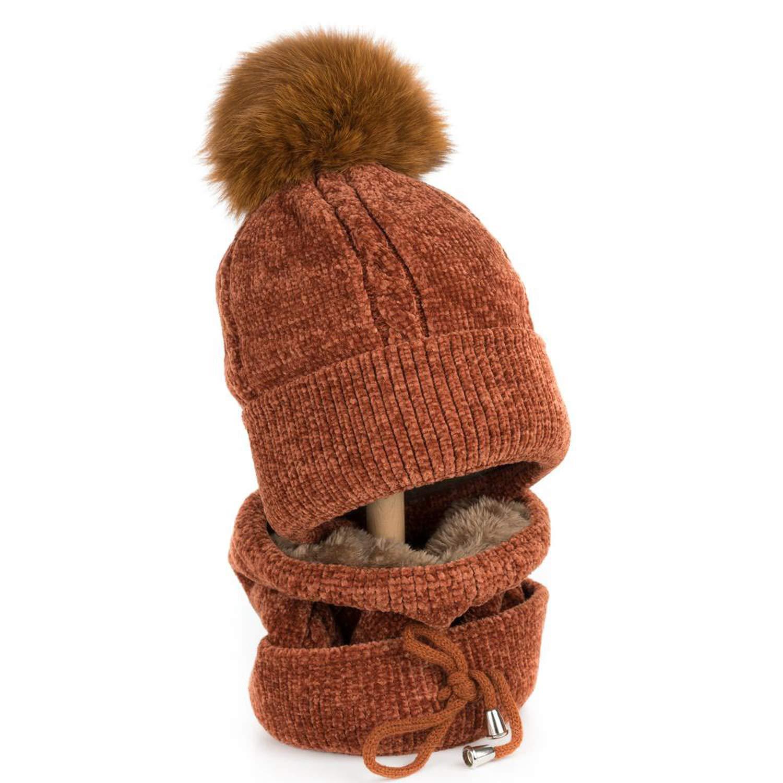 dult Winter Cap with Scarf 13-14 cm Real Fox Fur Ball Pom Poms Hat Knitted Cap Hat Skullies Women Men Beanies