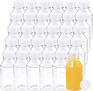 Aneco 30 Pack 4 Ounce Empty Plastic Juice Bottles Reusable Drink Containers with Lids Ideal for Storing Juices, Water and Other Homemade Beverages