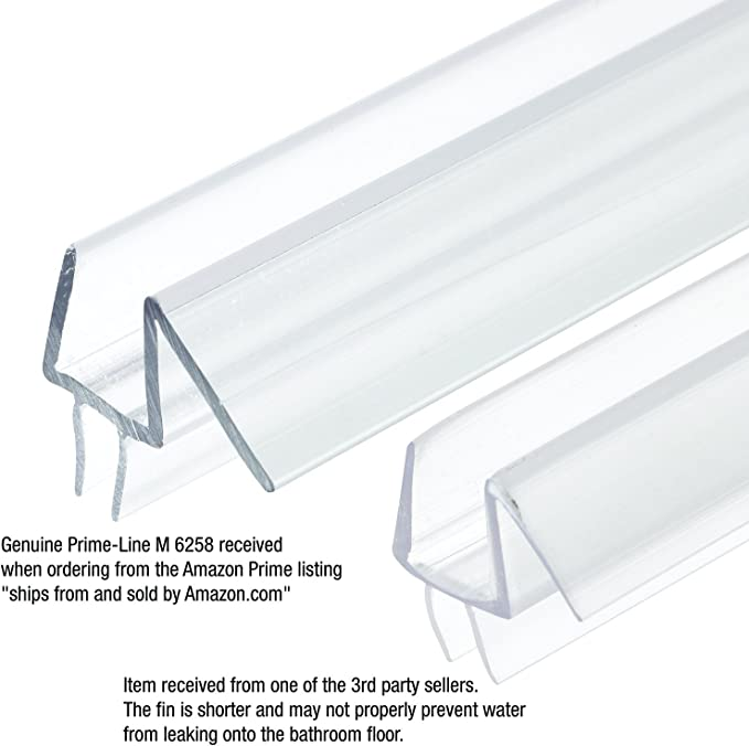 """Stop Shower Leaks and Create a Water Barrier Prime-Line M 6258 Frameless Shower Door Bottom Seal 3//8/"""" x 36/"""", Clear Vinyl"""