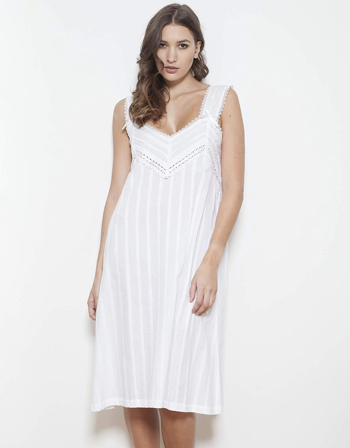 Cottonreal /'Rana/' 100/% Cotton Wide Shoulder Strap White Ladies Nightdress