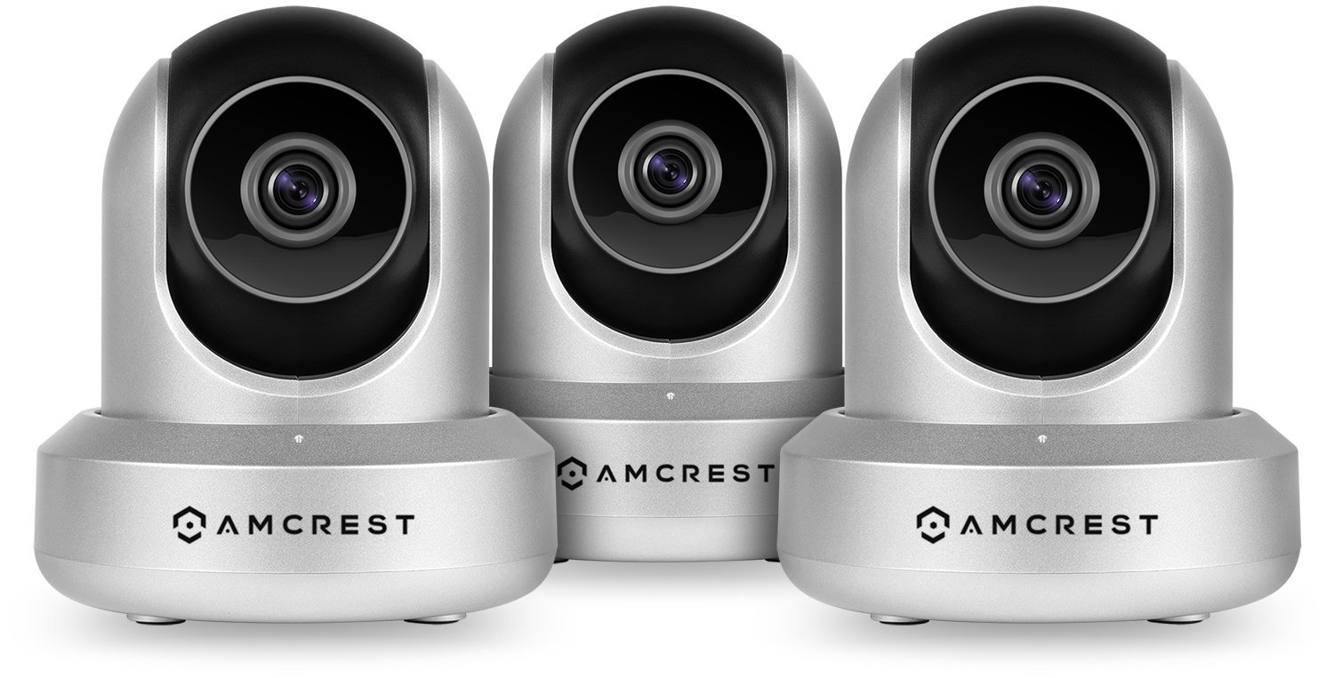 3-Pack Amcrest HDSeries 720P WiFi Wireless IP Security Surveillance Camera System - HD Megapixel 720P (1280TVL), IPM-721S (Silver)