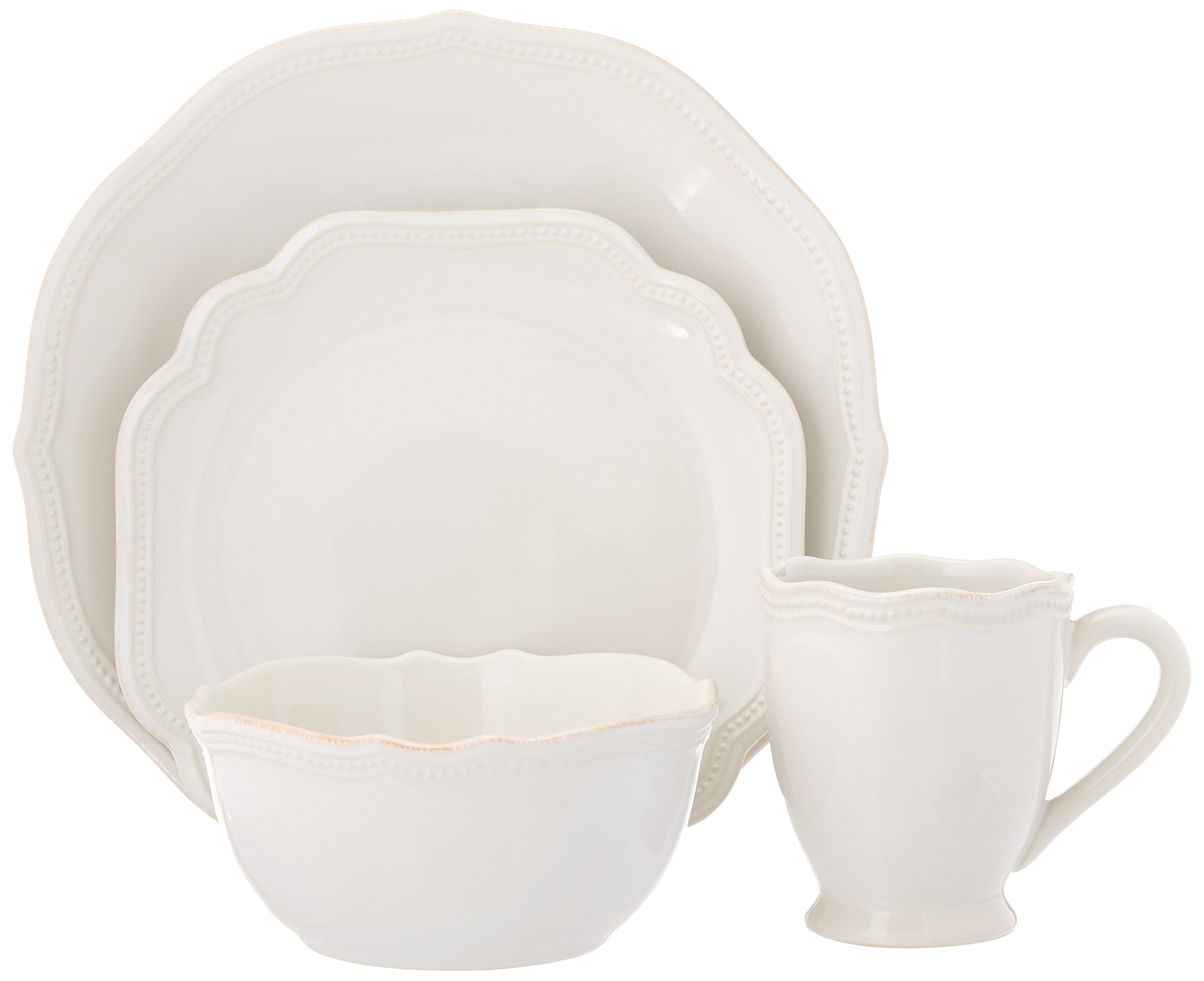 Lenox 4-Piece French Perle Bead Dinner Set, White by Lenox