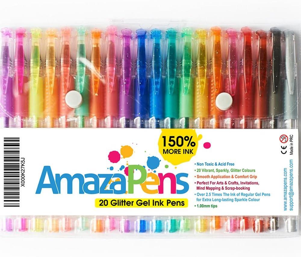 AmazaPens - Juego de 40 bolígrafos de gel con purpurina para colorear y proyectos de arte con purpurina. Ideal para añadir brillo a tus libros de colorear y proyectos de arte para