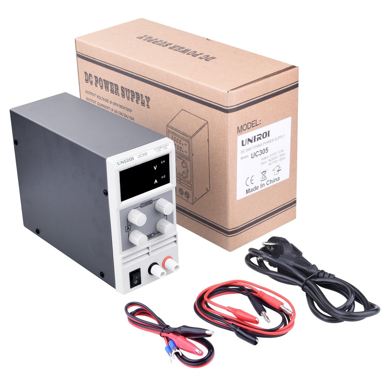UNIROI Labornetzger/ät 0-30V 0-5A DC Regelbar Netzger/ät Stabilisiert Digitalanzeige Labornetzteil Netzteil Strommessger/äte UC305