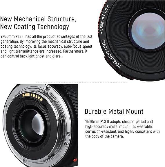 YN 50 mm F1.8 Grande Ouverture AF MF Objectif Plein Format adapt/é aux appareils Photo Reflex Mono-Objectif Canon