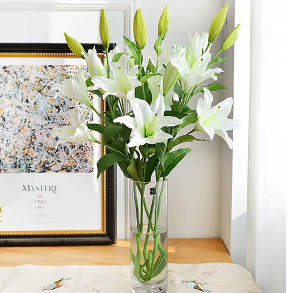 6 Pcs人工Tiger LilyラテックスリアルタッチFlowersフェイク花のホーム、ウェディングデコレーション人工花ホームホテルウェディングパーティーガーデン装飾Arrangement Flowers 95cm ホワイト 1647311x6-838-1525470411 B07BKW5MVY ホワイト