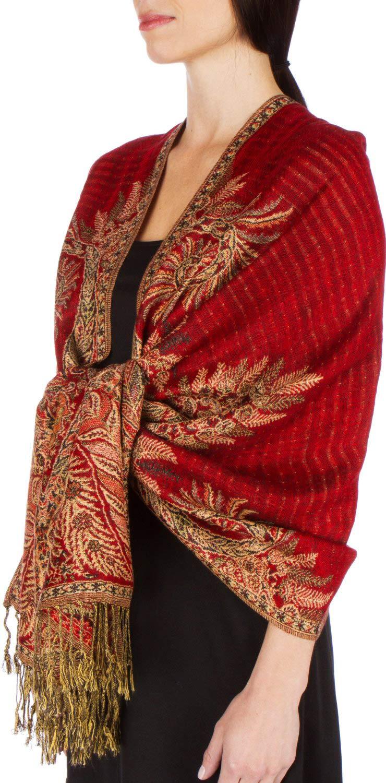 Sakkas 70' x 28' Big Paisley Jacquard Layered Woven Pashmina Shawl / Wrap / Stole - Teal 5060248302378
