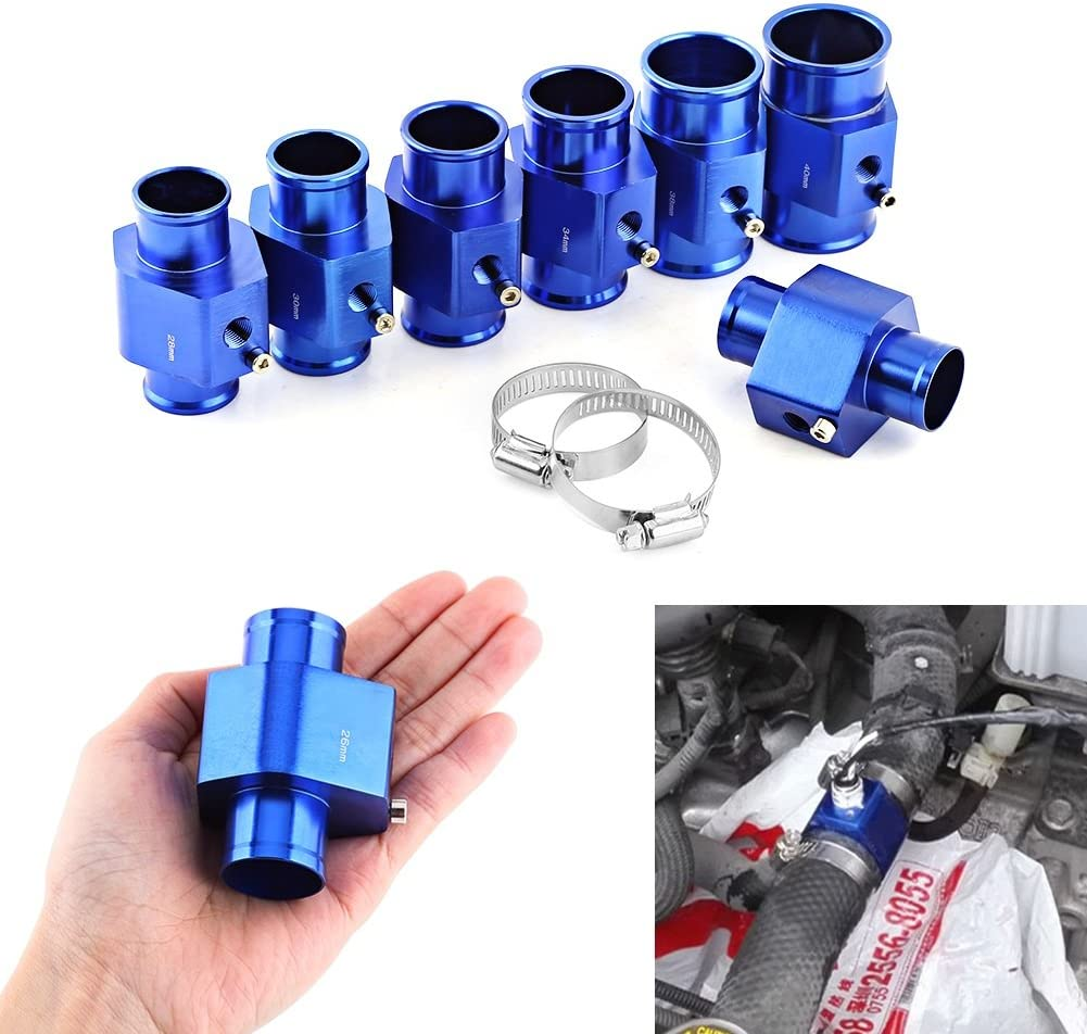 Size : 26MM VGEBY Car Aluminum Water Temp Temperature Joint Pipe Sensor Gauge Radiator Hose Adapter Clamps 26-40MM