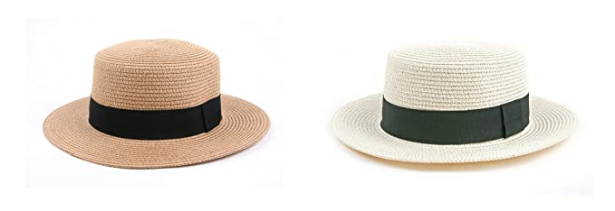 335e425d50b4d1 Pop Fashionwear Pop Fashionwear Fashion Panama Straw Boater Hat 510SF (2  pcs Brown & OffWhite) at Amazon Women's Clothing store: