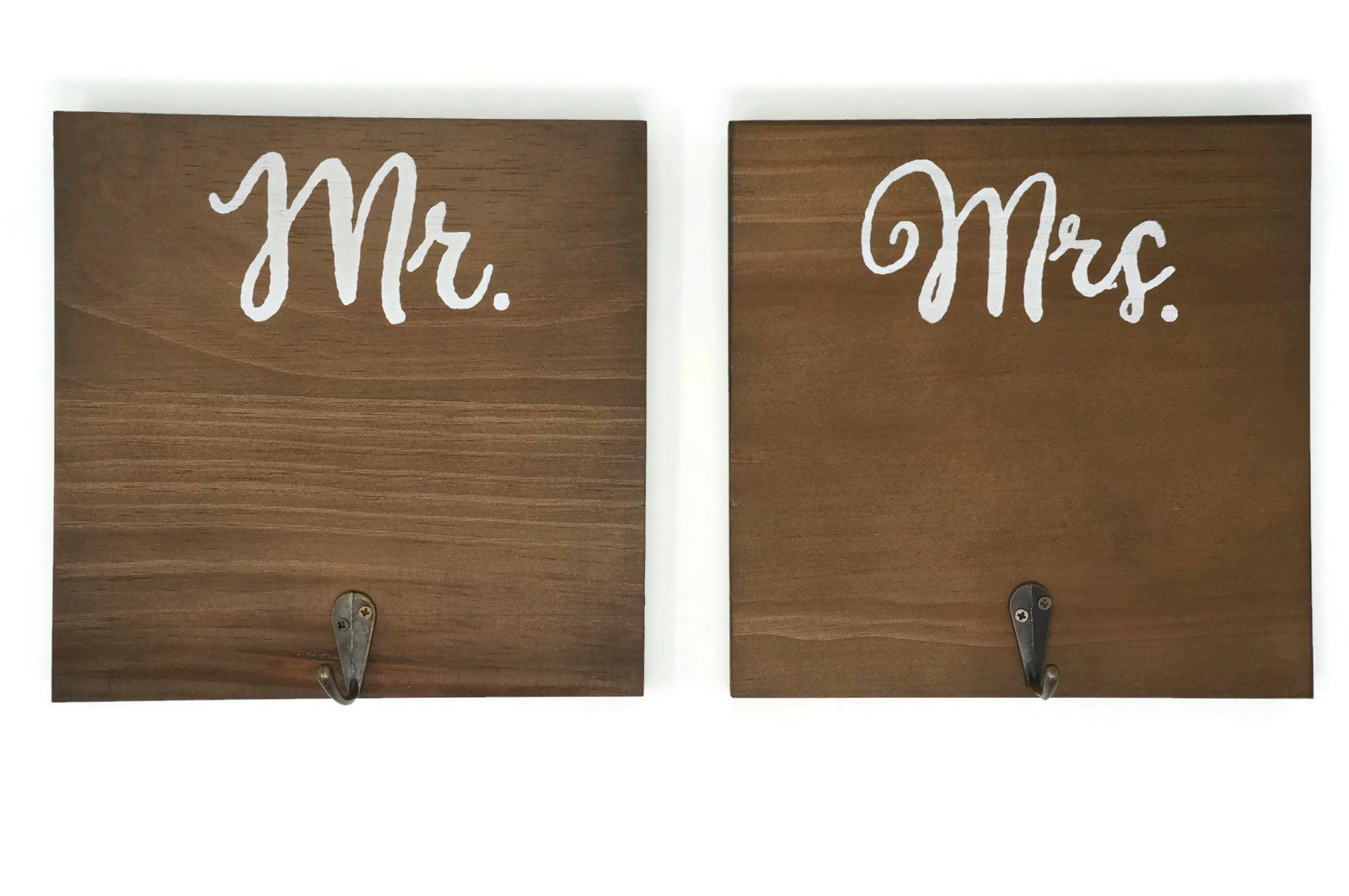 Orchid & Ivy Wooden Mr and Mrs Wall Hooks - His and Hers Towel Holder Wall Decoration