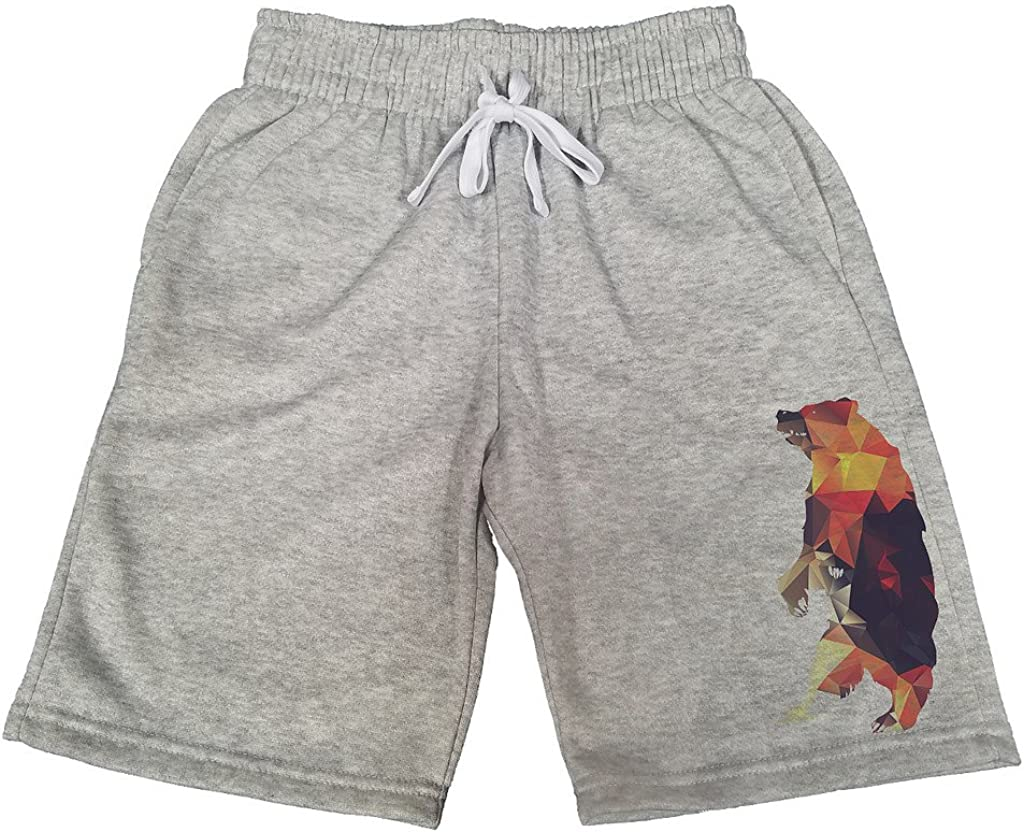 Mens Geometric Fire Bear B132 Gray Fleece Jogger Sweatpants Gym Shorts