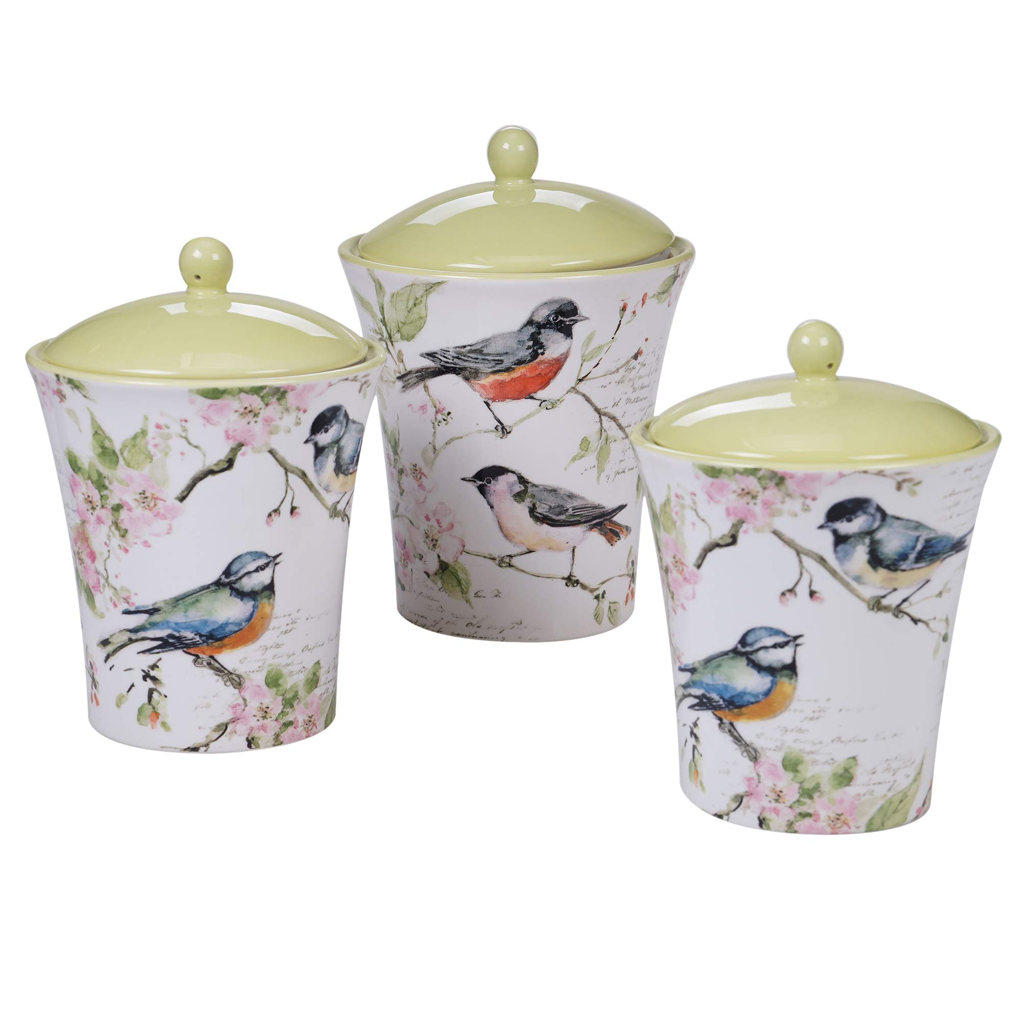 Certified International 26638 Spring Meadows 3pc Canister Set Servware, Serving Acessories, Multicolred by Certified International