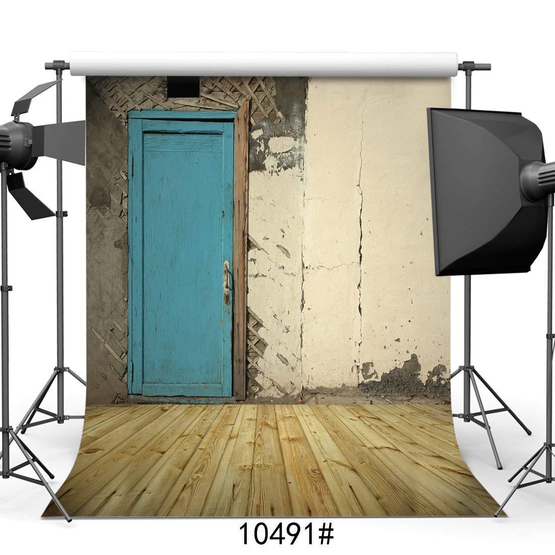 SZZWY 10X10フィート レトロ レンガ 壁 古いドア 写真 背景 写真 背景幕 子供用 スタジオ小道具 10491   B07L5PBW4N