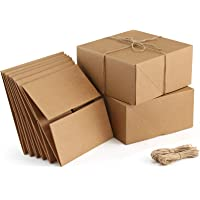 ValBox Premium Gift Boxes 10 Pack 8 x 8 x 4 Brown Paper Gift Boxes with 20 Meters Hemp Rope for Christmas Gifts…