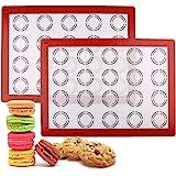 """LotFancy Macaron Silicone Baking Mat - Set of 2 Half Sheet (11 5/8"""" x 16 1/2"""") Macaron Mat - Non Stick Baking Liner…"""