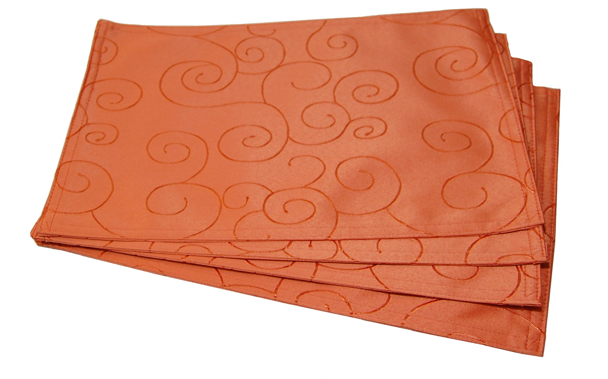 EcoSol Designs Microfiber Damask Table Placemats (12''x18'', Orange Swirls) 4-Pack
