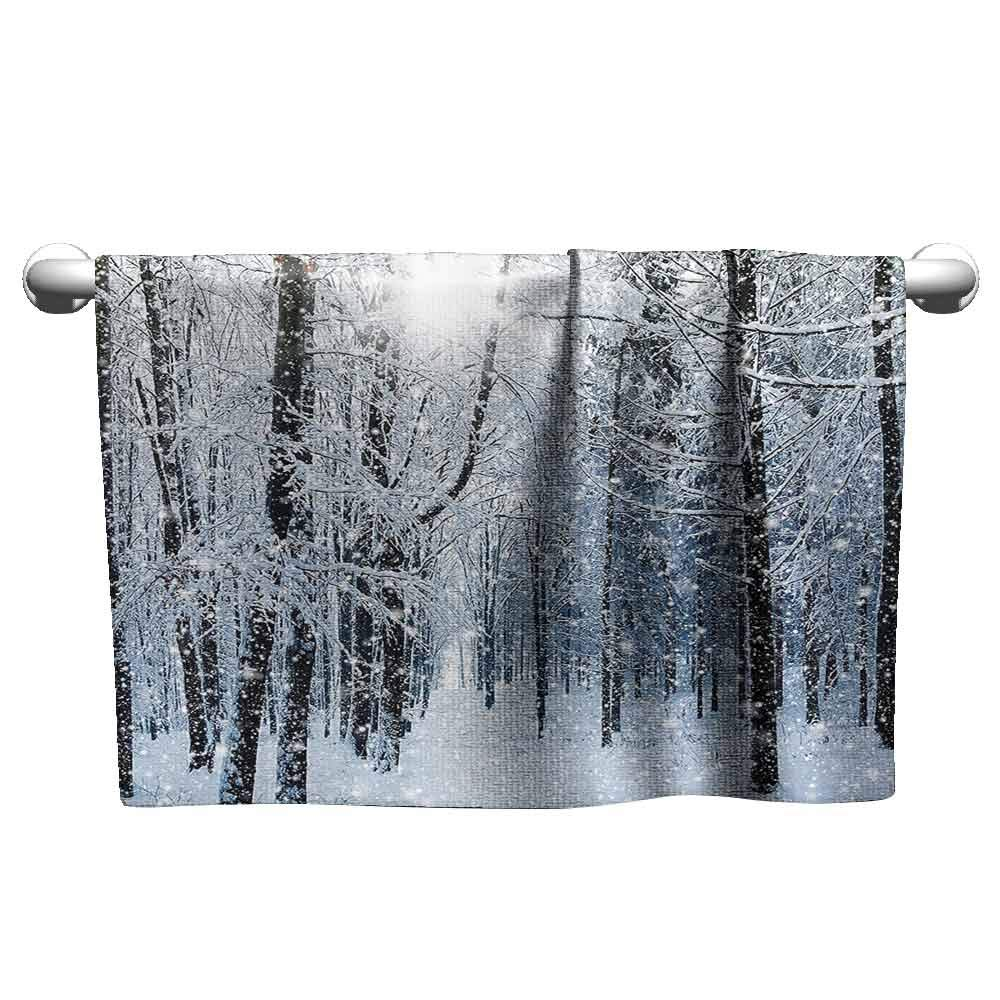 DUCKIL Gym Hand Towels Winter Forest in Winter Snow Freezing Temperatures Frozen Barren Jungle Environment Photo Popular Bath Sheets 63 x 31 inch