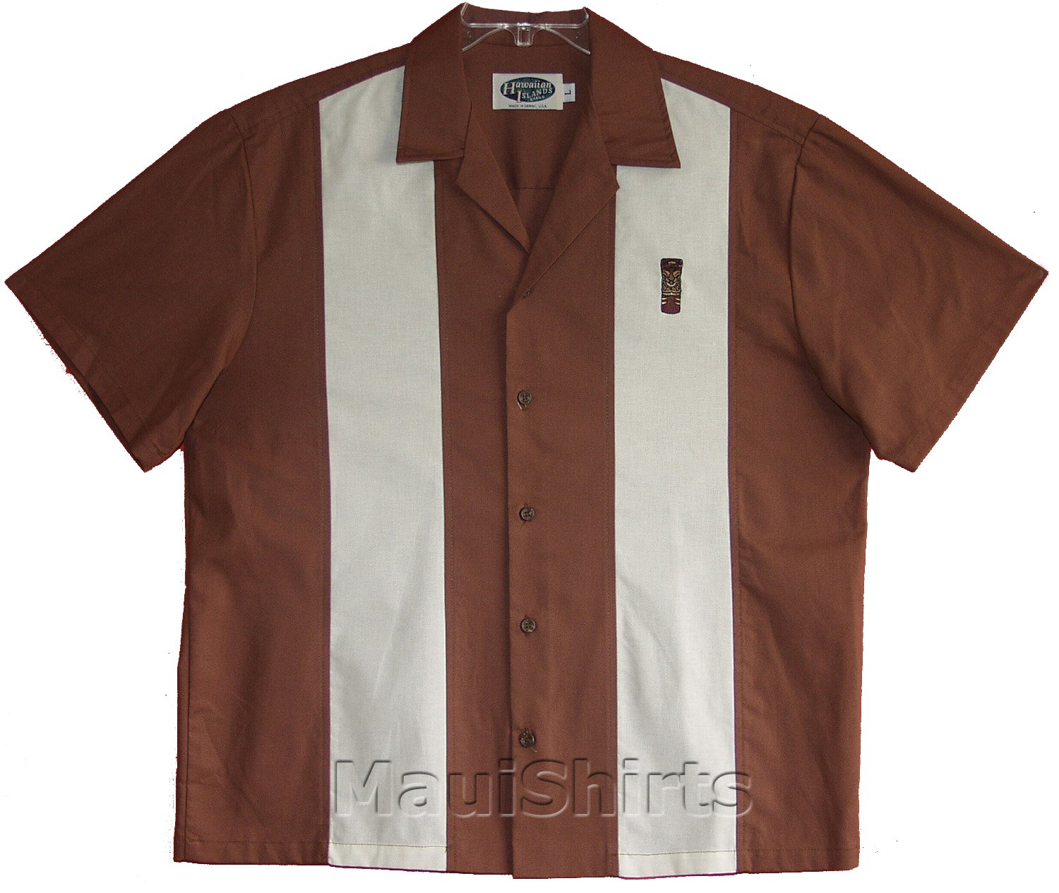 Embroidered Bowling Shirt - Tiki God Men's Hawaiian Aloha Solid Retro Panel Cotton Shirt in Brown - S by RJC Men