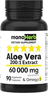 Aloe Vera 300 mg per Capsule - 60000 mg Equivalent - 200x Extract - 90 Capsules
