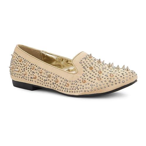 Footwear Sensation - Mocasines de Material Sintético para mujer, color dorado, talla 37 1/3: Amazon.es: Zapatos y complementos