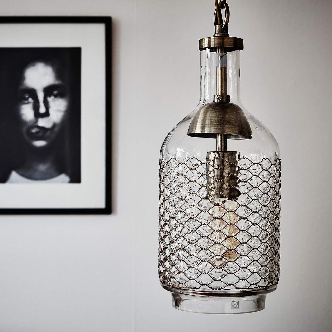 Y.H.Valuable Pendant Lights Industrial Edison Vintage Hand Blown Glass Pendant Light, 1 Hanging Light -Living Room Dining Hall Aisle Glass Chandelier -Lighting & Ceiling Fans