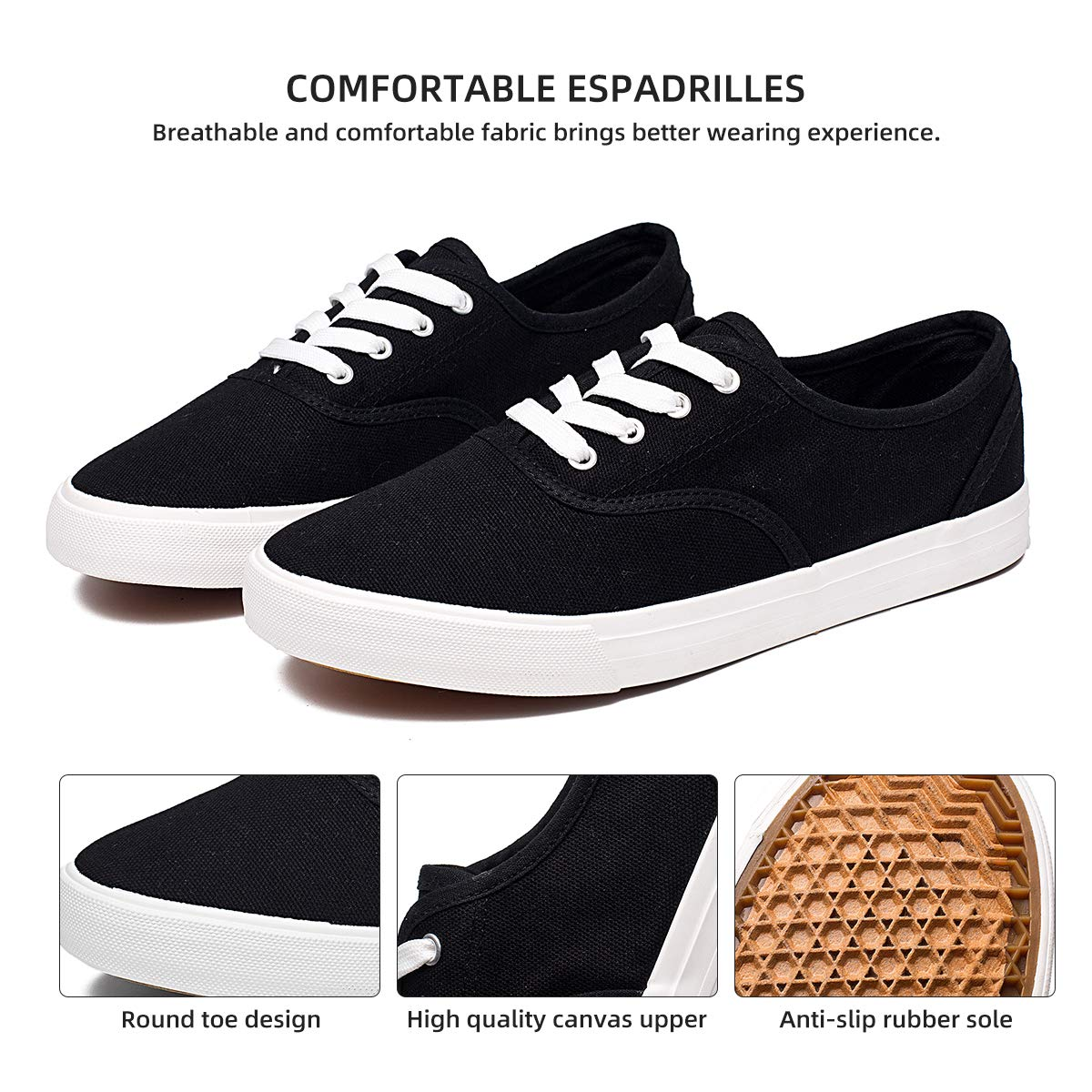 ZGR Women's Canvas Shoes Fashion Low Cut Loafer Sneakers (us7, Black)