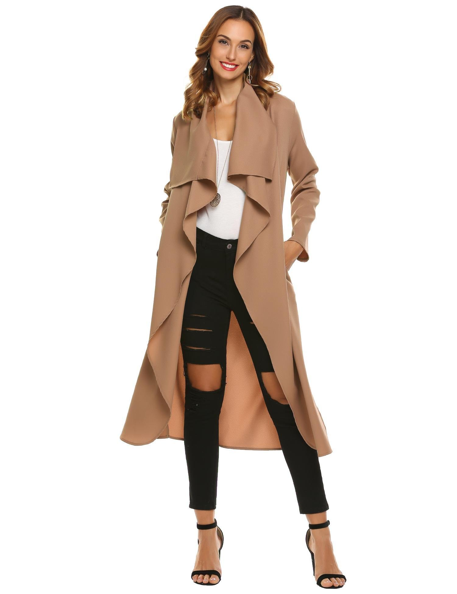 Vansop Women's Women's Casual Long Sleeves Notch Collar Outwear Trench Coat Cardigan Trench Coat