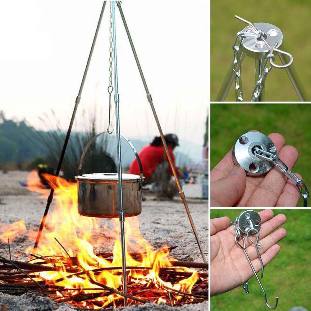 YOEDAF Outdoor Cooking Tripod Campfire Tripod Bracket for Camping Picnic BBQ(80CMx 52CM/31)