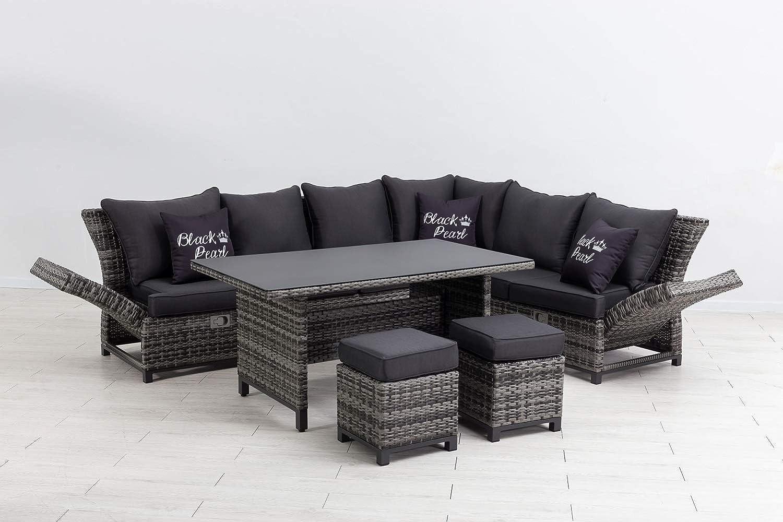 Mandalika Garden Hohe 3 in 1 Dining Poly Rattan Lounge Santa Cruz Deluxe Black Pearl Rechts, mit verstellbaren Armlehnen, flexibel einsetzbar
