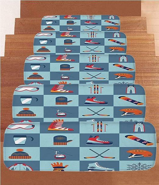 SoSung - Juego de 5 Alfombrillas de Forro Polar para Escalera, diseño con Texto en inglés I Love You, Color Rojo y Gris: Amazon.es: Juguetes y juegos