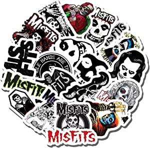 20 PCS Stickers Pack Misfits Aesthetic Metal Vinyl Colorful Waterproof for Water Bottle Laptop Scrapbooking Luggage Guitar Skateboard