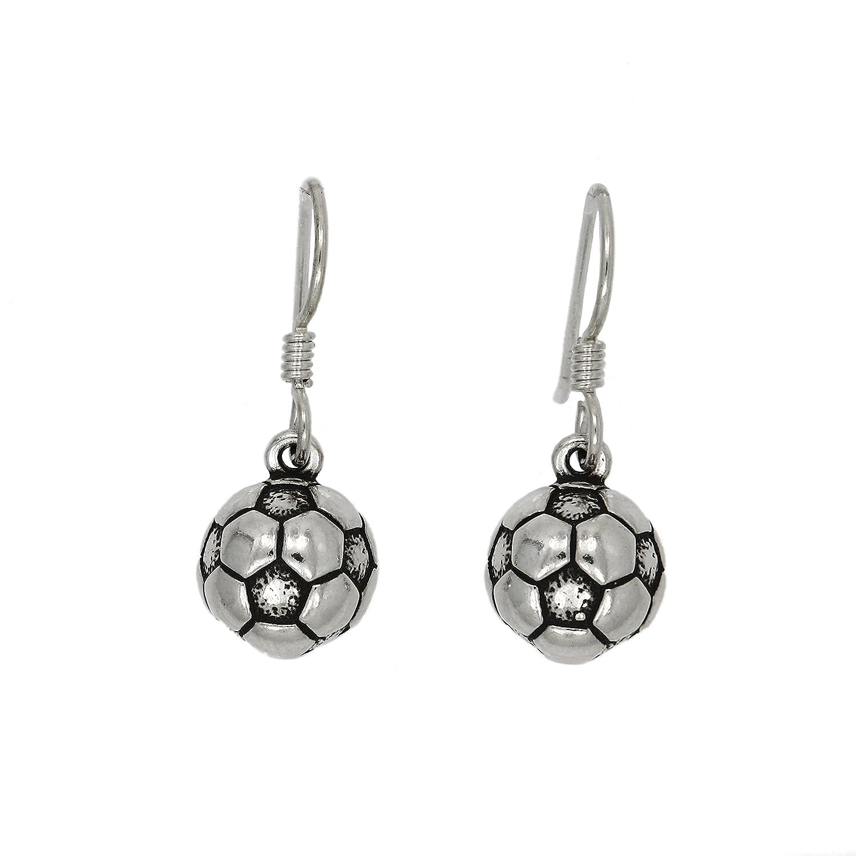 Sterling Silver Oxidized 2d Soccer Ball Earrings Soccer Earrings