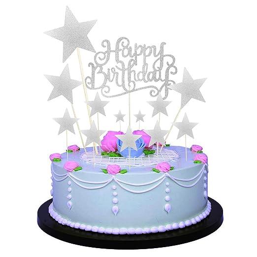 Allazone Decoraciones para Tarta, 1 Pz Plata Happy Birthday y 12 Pz Plata Estrellas, Happy Birthday Topper Decoración para Cumpleaños Baby Shower ...