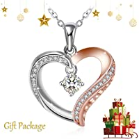 """J.Rosée Heart Pendant Necklace 925 Sterling Silver Nickel Free Anti-Allergic Charm for Women💖 Jewellery Mom I Love You, 18""""+2"""" Extender"""