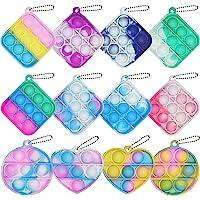 12Pcs Mini Squeeze Pop Bubble Fidget Sensory Toys, Mini Keychain Silicone Fidget Bulk Toy Relieve Anxiety Stress Office…