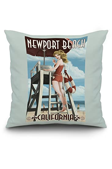 Newport Beach California Lifeguard Pinup 40x40 Spun Polyester Custom Newport Pillow Covers