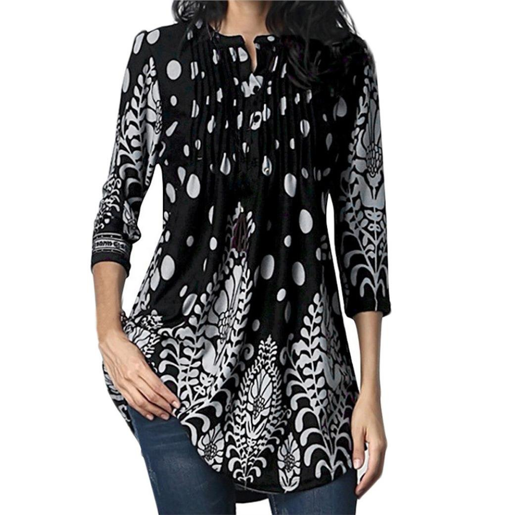 FEITONG Women 3/4 Sleeve Circular Neck Floral Tunic Tops Loose Blouse Irregular Hem T-Shirt (XX-Large,Black )