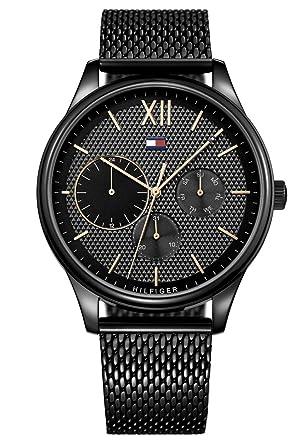 8bd718d35107e Tommy Hilfiger - 1791420 Montre Homme Quartz- Affichage Multi-cadrans  bracelet Inoxydable Noir et