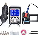 YIHUA 995D+ 2 in 1 Hot Air Rework and Soldering Iron Station with 3 Memories, Large LCD Screen Display, Cool Air/Hot Air Conv