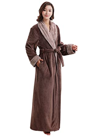 39a075fcca Womens Ladies Velour Robes Sherpa Robe Super Plush Microfiber Fleece  Bathrobe (Coffee
