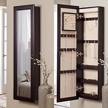 Amazoncom Belham Living Lighted Wall Mount Locking Jewelry Armoire