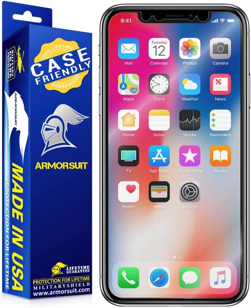 ArmorSuit MilitaryShield [Case Friendly] Screen Protector for Apple iPhone X - Anti-Bubble HD Clear Film