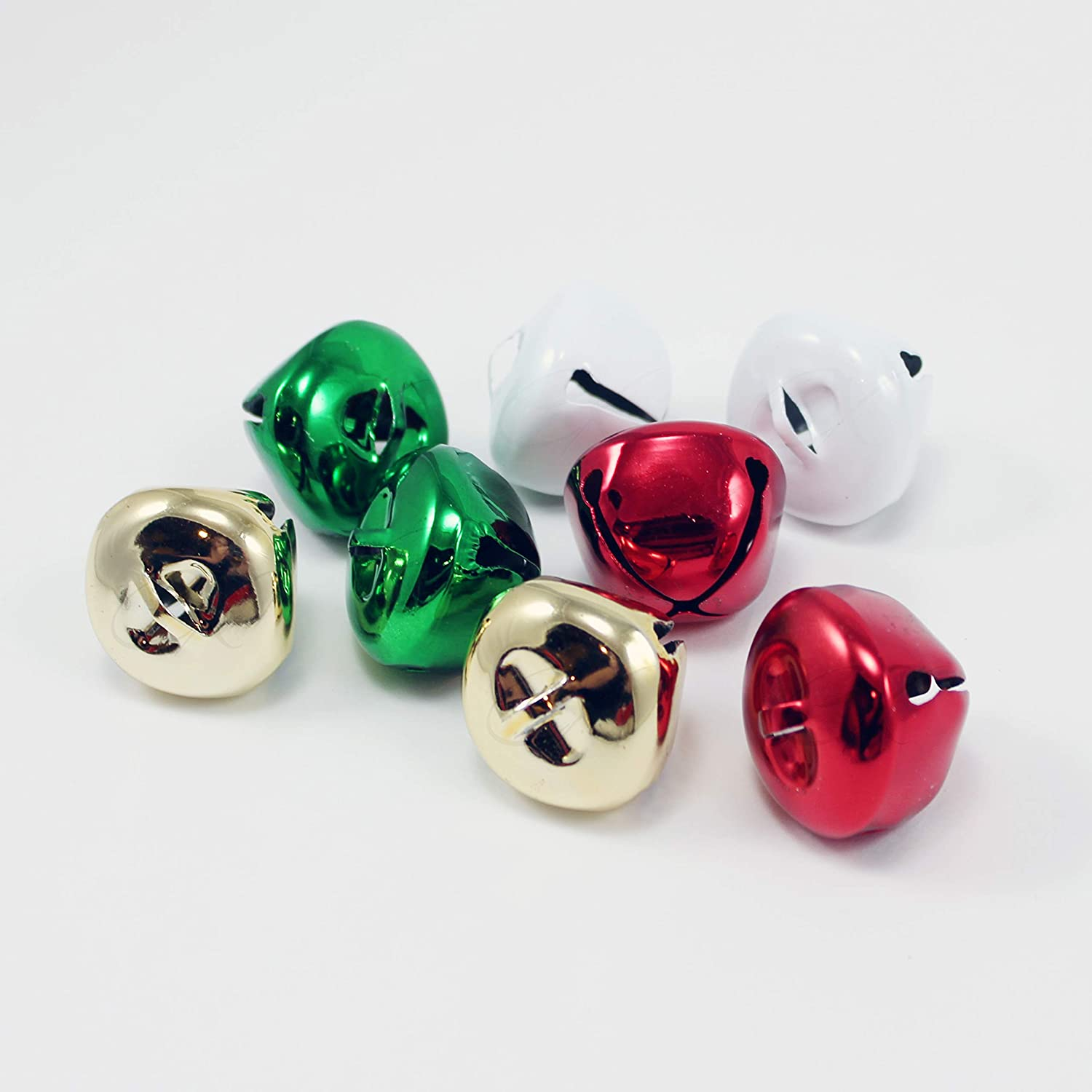 Jingle Bells Red/White/Green/Gold 8 PC Large Size 35mm Approx 1-3/8 Each Distribue