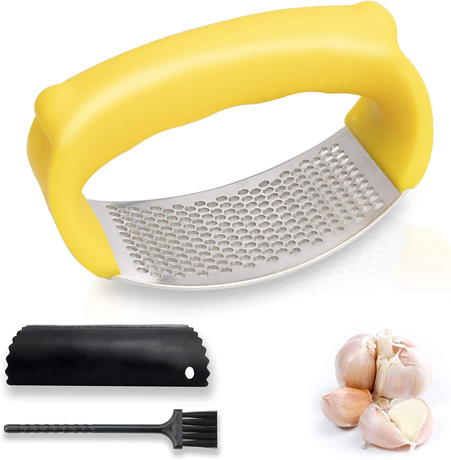 Stainless Steel Garlic Mincer Crusher with Silicone Tube Peeler /& Cleaning Brush Yellow New Garlic Press Rocker