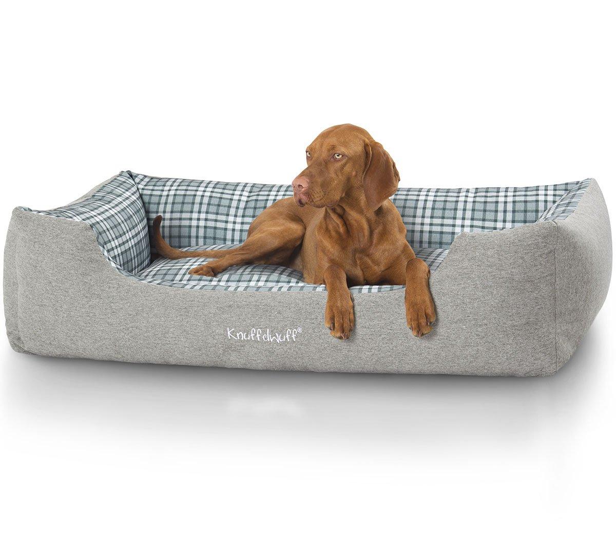 in cerca di agente di vendita Knuffel Wuff 13988 – 001 Velour Cuccia, cuscino per cani, cani, cani, divano per cani, cesta per cani, Lennard con motivo scozzese, 85 x 63 cm, M L, Grigio verde  wholesape economico