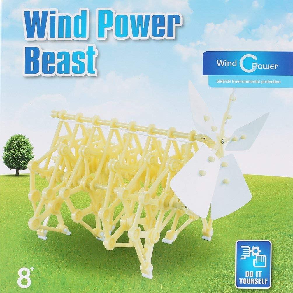 Jaune Aliment/é par le vent DIY marche Walker Strandbeest mod/èle Kits nouveaut/é jouet pour enfants