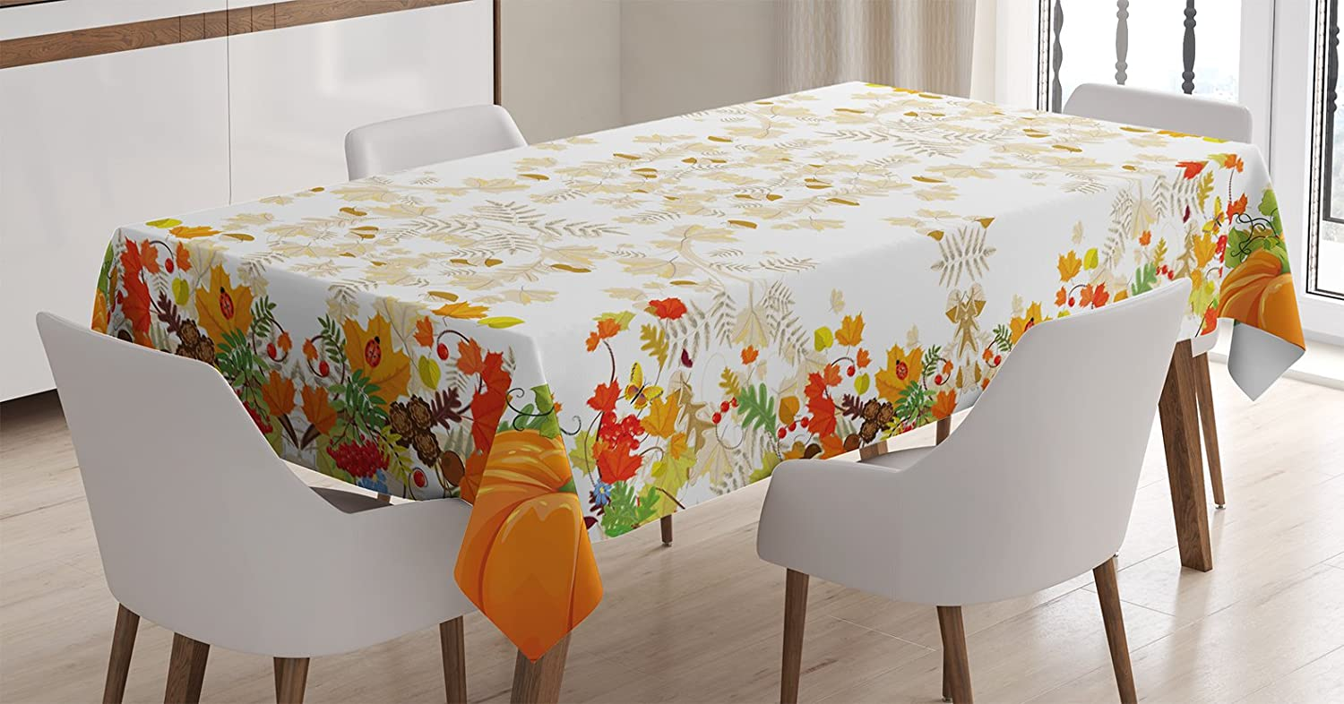 """Ambesonne Thanksgiving Tablecloth, Fall Colors Ladybug Maple Leaf Woods Pine Nuts Berries Design Pattern, Dining Room Kitchen Rectangular Table Cover, 60"""" X 84"""", Orange"""