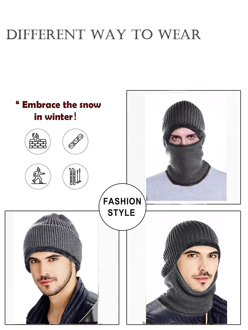 82082662cf7 Jovono 3-in-1 Kint Winter Hats for Men and Women