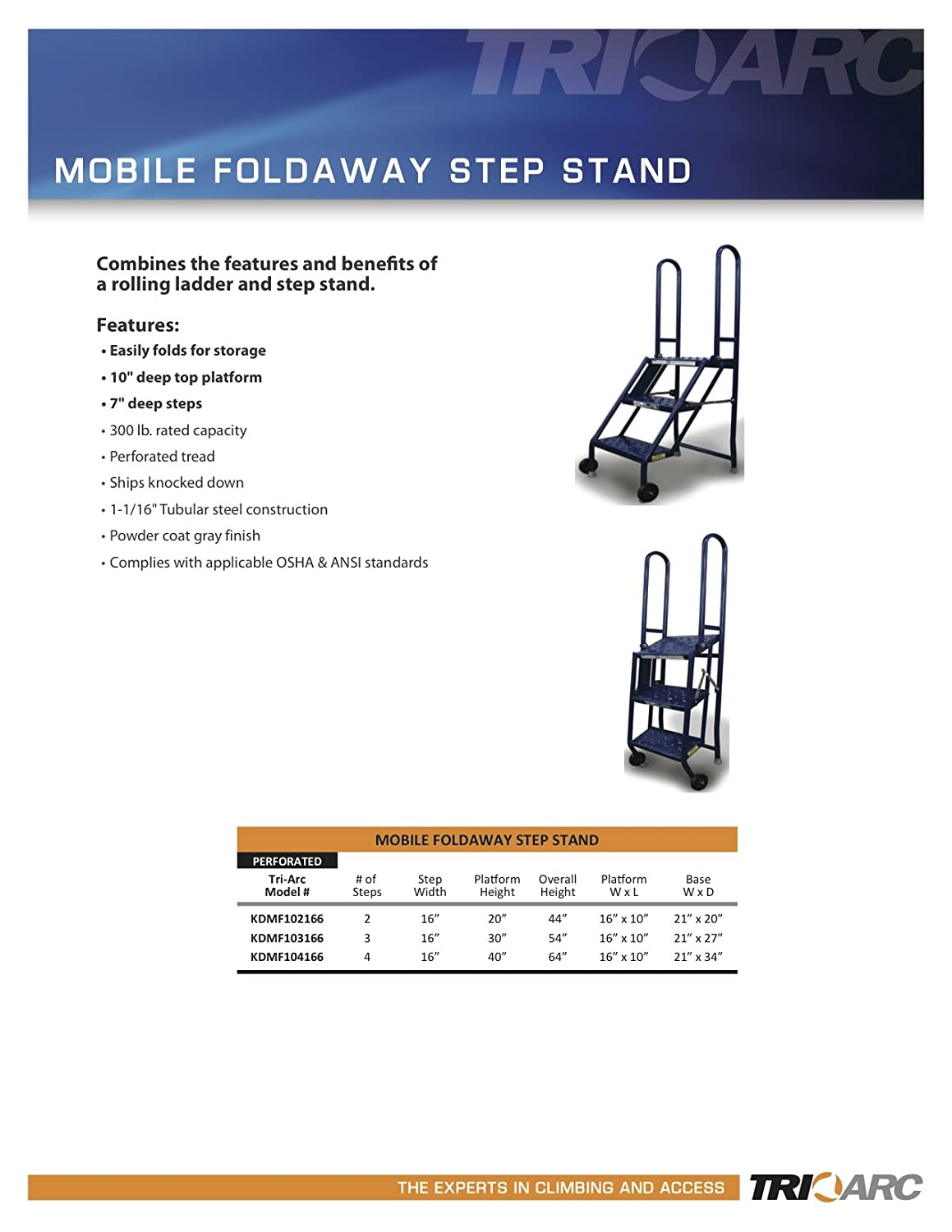 Tri Arc Kdmf104166 4 Step Mobile Folding Steel Step Stand
