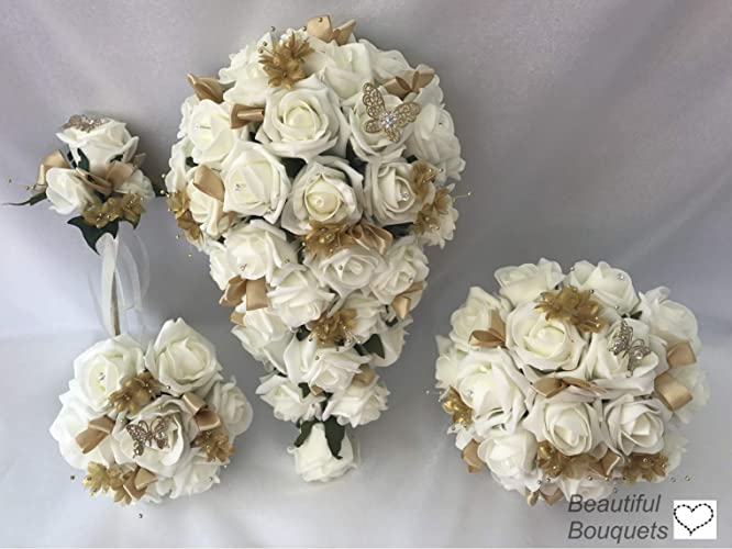 42d021a94 Wedding Flower Bouquets Brides Bridesmaids ivory Gold: Amazon.co.uk:  Handmade